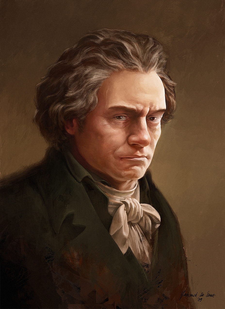 Painted portrait of Ludwig Von Beethoven