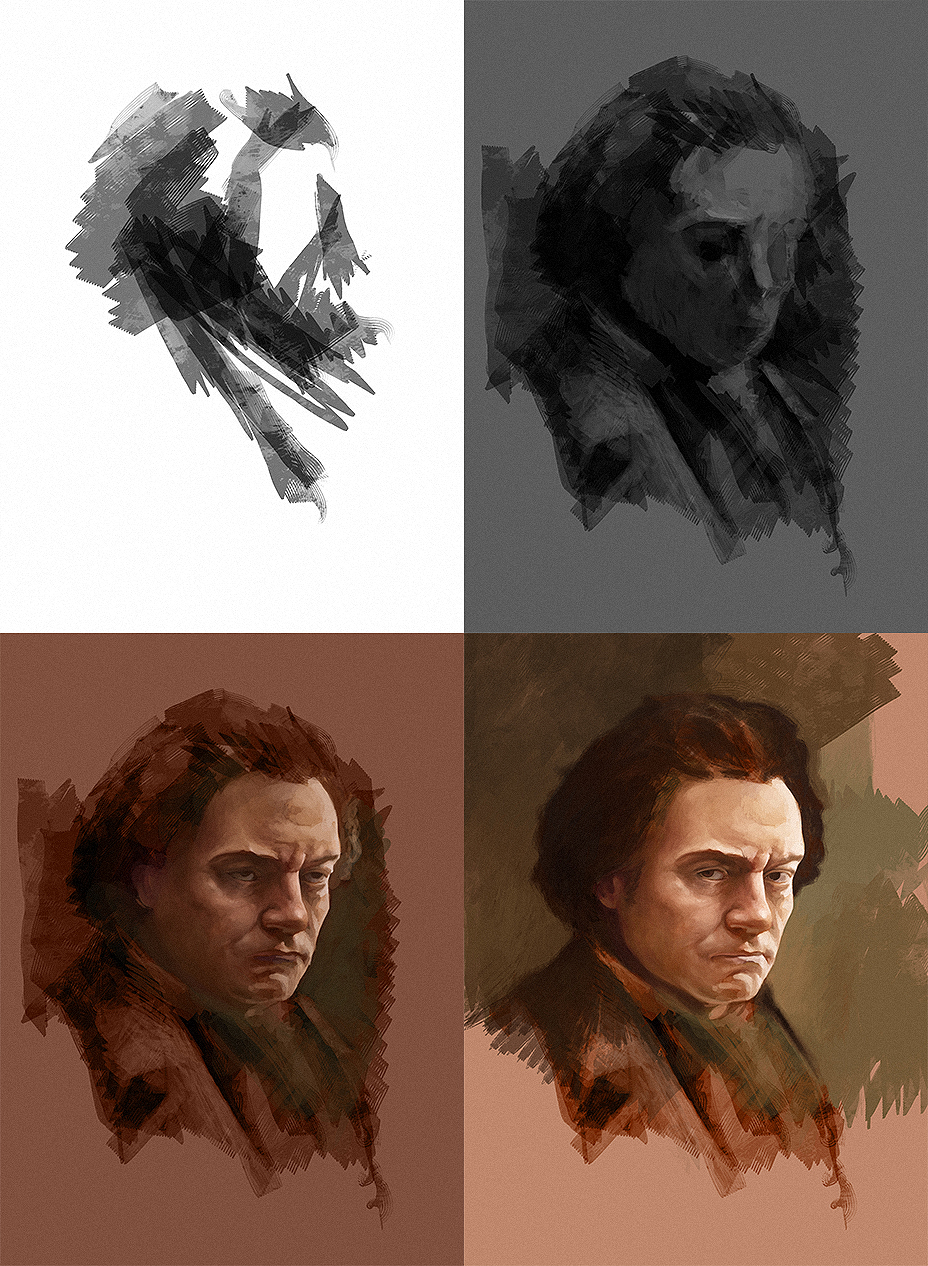 Making of the Beethoven portrait