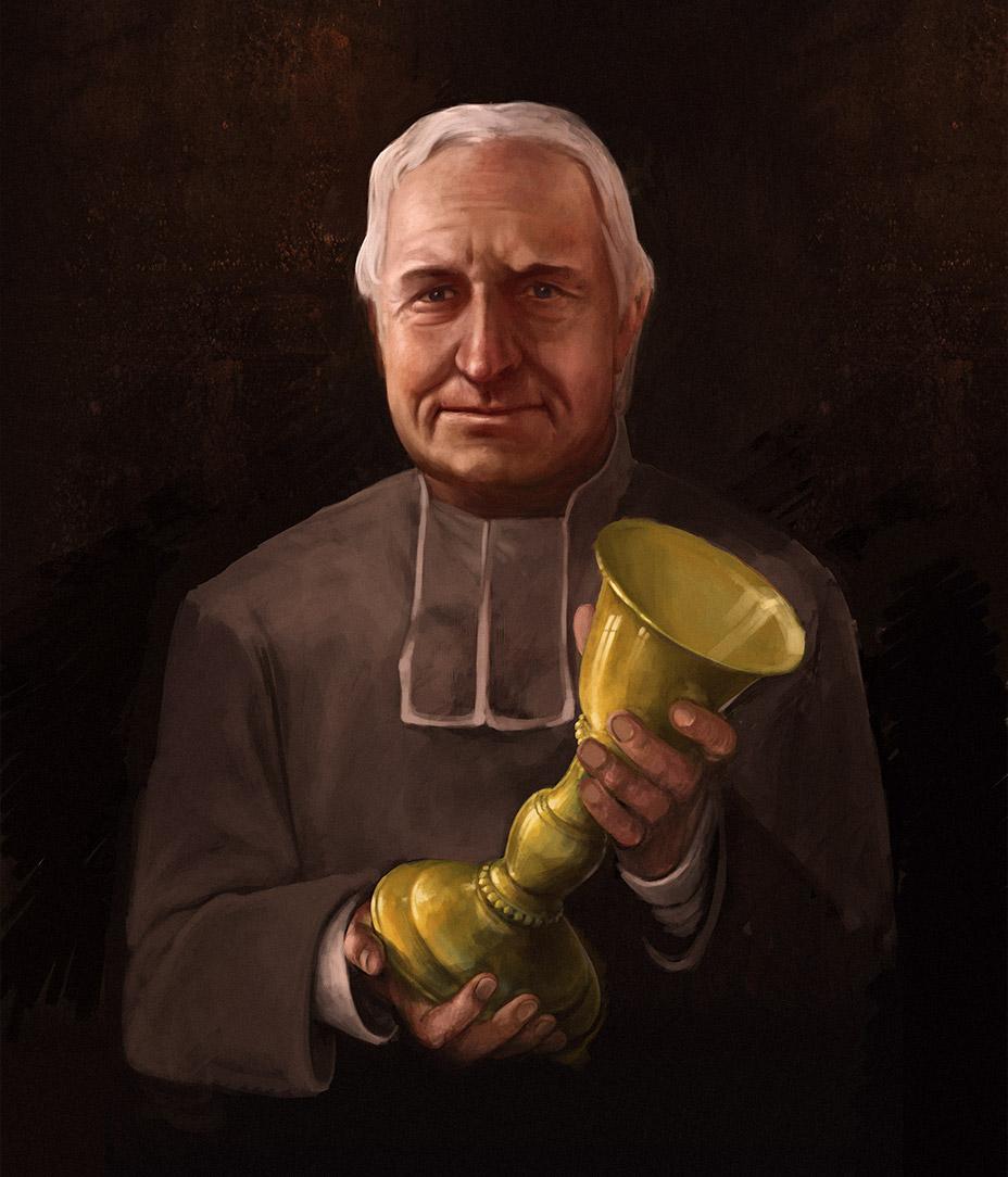 Painted portrait of Père Modestus Glorieux